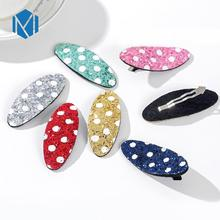 цена на 2PCS Children Dot Sequin Oval Hair Clips For Baby Girls Candy Color Hairpins Barrettes Daily School Kids Hair Accessories