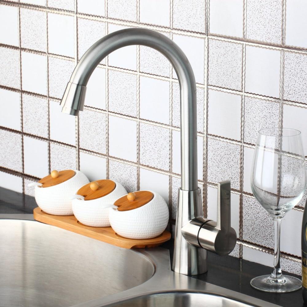 Luxury New Kitchen Swivel Nickel Brushed Sink Tap Brass Basin Vessel Mixer Torneira Cozinha 97196 Faucet