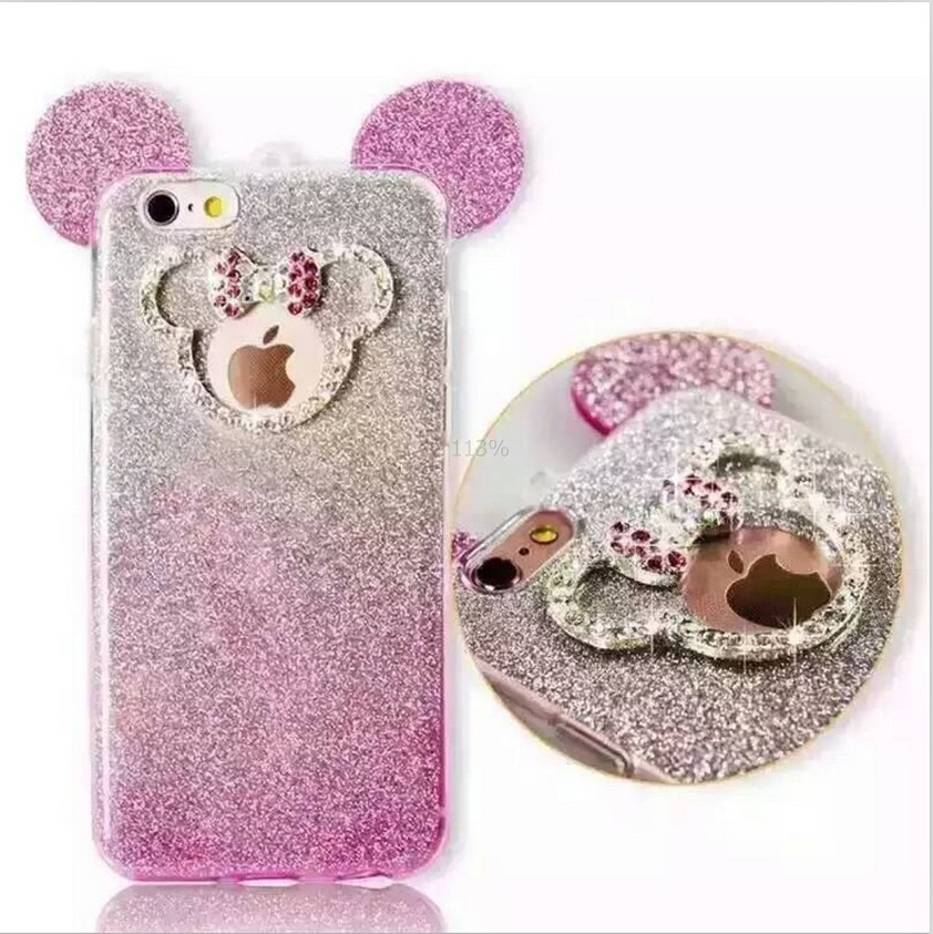 High Quality 3d Diamond Mickey Mouse Ears Case For Iphone