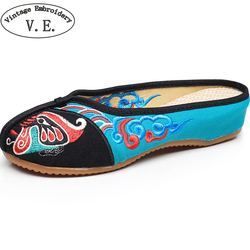 Embroidery Shoes Women Old Peking Slippers Chinese Opera Embroidery Soft Sole Casual Sandals Shoes Flip Flops Zapato Mujer frog button peking opera mask embroidery tee