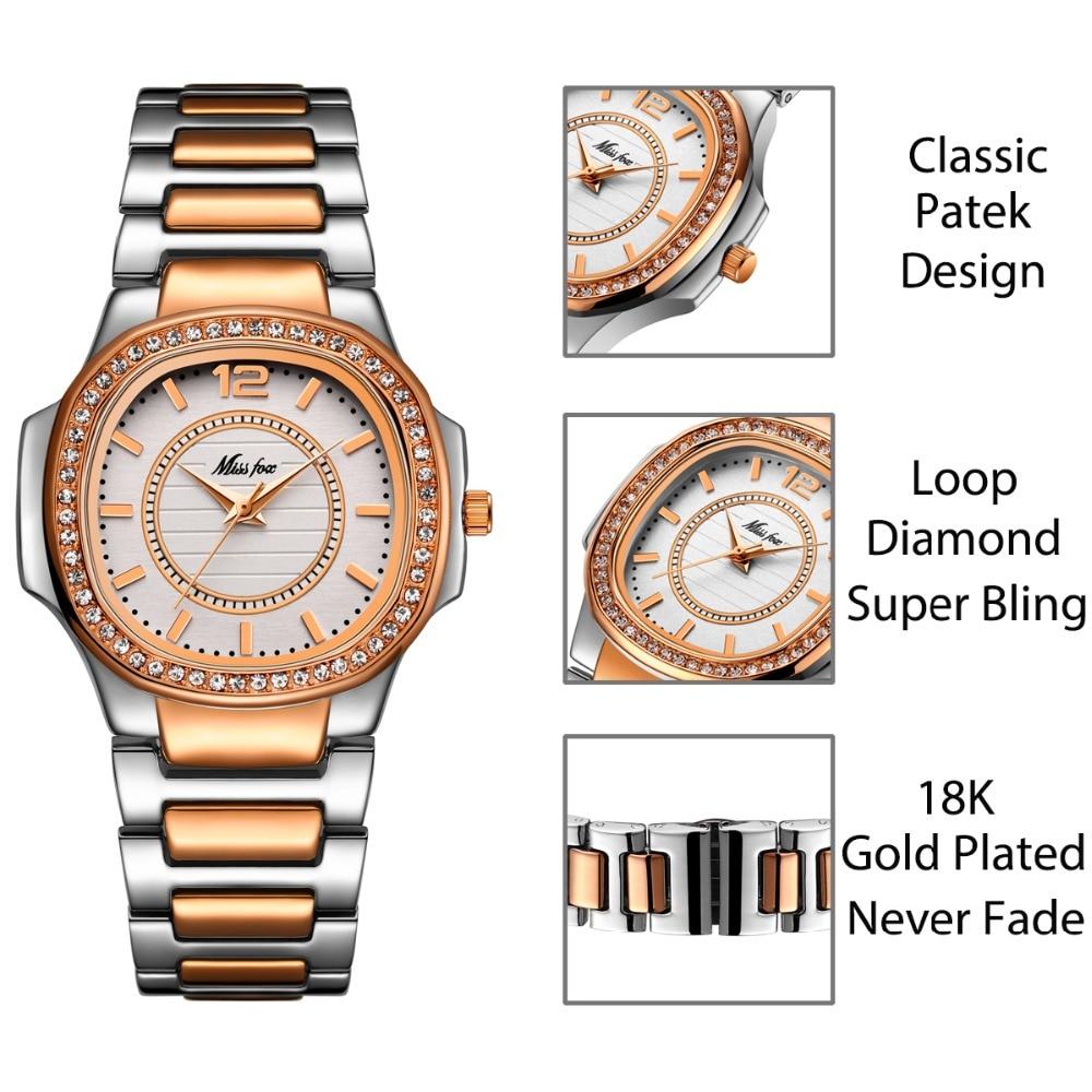 Image 2 - MISSFOX montre en or Rose femmes montres à Quartz haut pour femme marque de luxe en acier inoxydable femme montre bracelet fille horloge dorée heuresMontres femme   -
