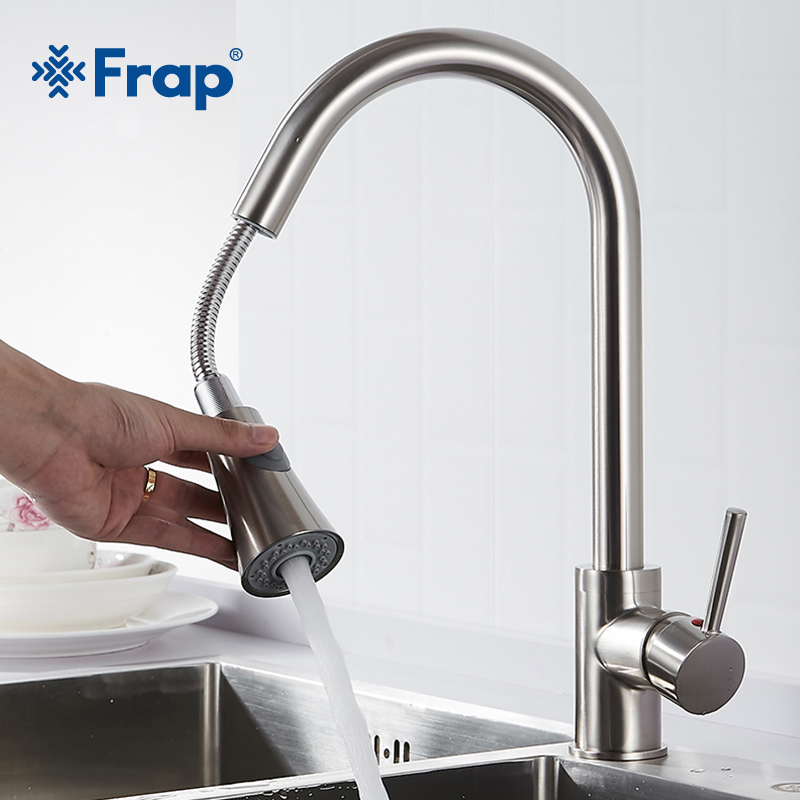 Frap Newly Arrived Pull Out Kitchen Faucet Black Taps torneira cozinha Jet Soft Flow Water Switch