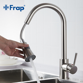 Frap Newly Arrived Pull Out Kitchen Faucet Black Taps torneira cozinha Jet/Soft Flow Water Switch Two Ways Water Outlet Y40081