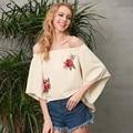 Simplee Цветочной вышивкой спинки блузка Женщины Сексуальная с плеча прохладный блузка рубашка Осень повседневная flare рукавом свободные blusas топ