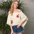 Simplee floral bordado blusa sin espalda mujeres sexy hombro blusa fresca camisa ocasional otoño flare manga floja blusas top