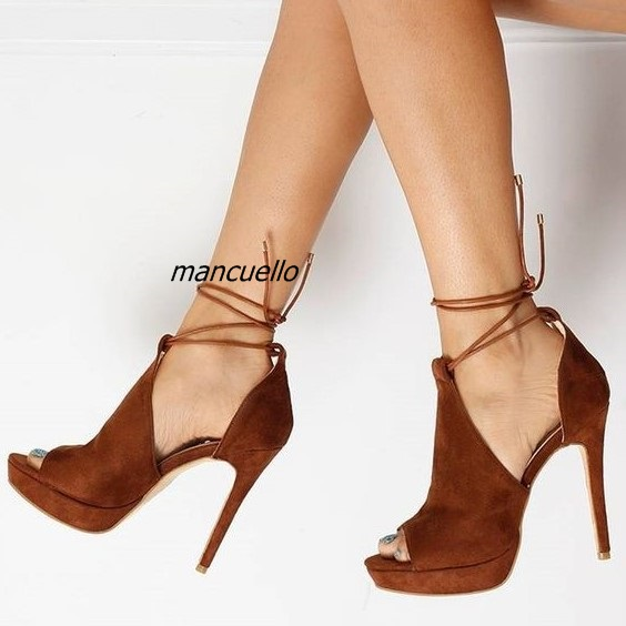 Chic Dark Khaki Suede Thin Heel Platform Sandals Women Sexy Cut-out Peep Toe Stiletto Heel Lace Up Dress Sandals ClassyDateShoes