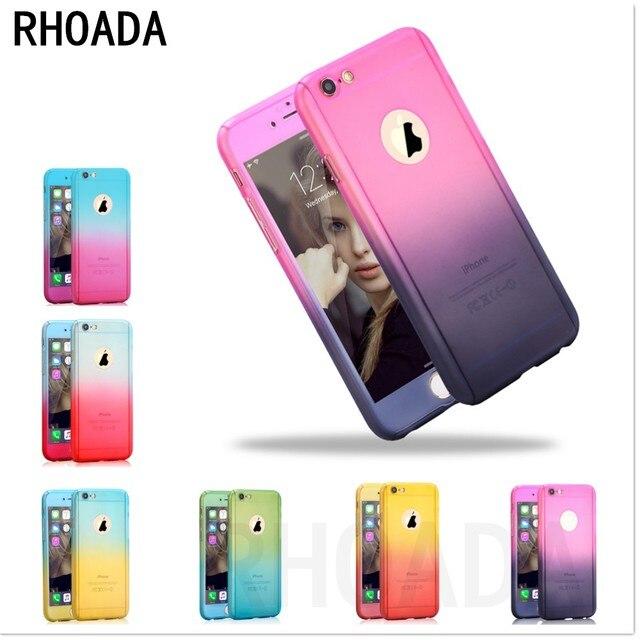 b1c54118084 Funda protectora de plástico roada 360 Color degradado completo para iPhone  5 5S 6 6 s