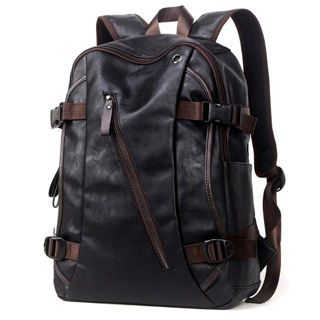 40c313592 New Fashion 2016 Faux-leather Backpack Men Bag Casual Backpack For Women  School Backpack Men