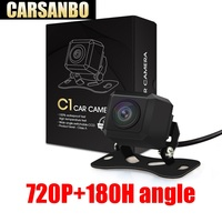 Carsanbo 2019 Newest 180 Degree Horizontal Wide Angle 720P HD Fish eye Lens Car Rear View Reverse Camera Parking Monitor