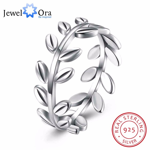 Solid 925 Sterling Silver Ring Leaves Shape OL Accessories Jewelry Rings For Wom
