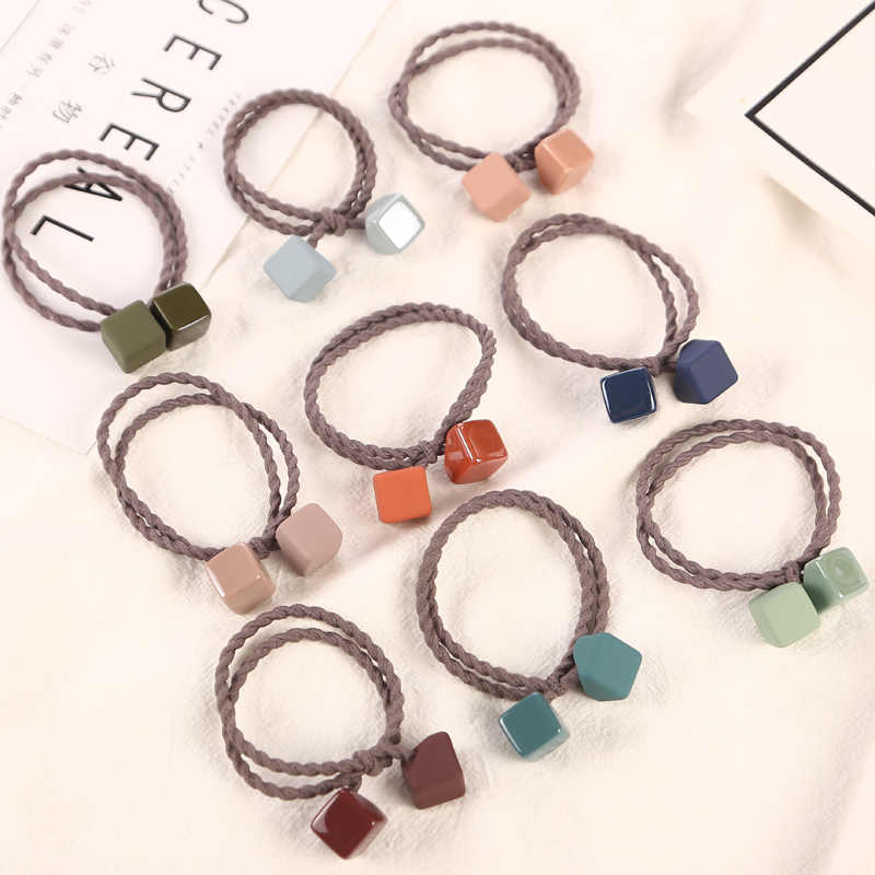1PC New Women Candy Colors Acrylic Two Cube Elastic Hair Bands Ponytail Holder Headbands For Girls Rubber Bands Hair Accessories