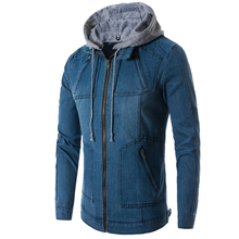 New Arrive 2018 Spring And Autumn Influx Of Men Casual Denim Jacket Thin Denim Zipper Tie Jacket Thin Hooded Male Single Color