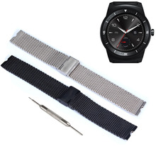 2016 new arrival High quality quartz watch strap 22mm Luxury Stainless Steel Watch Band For LG G Smart Watch+Tool black sliver