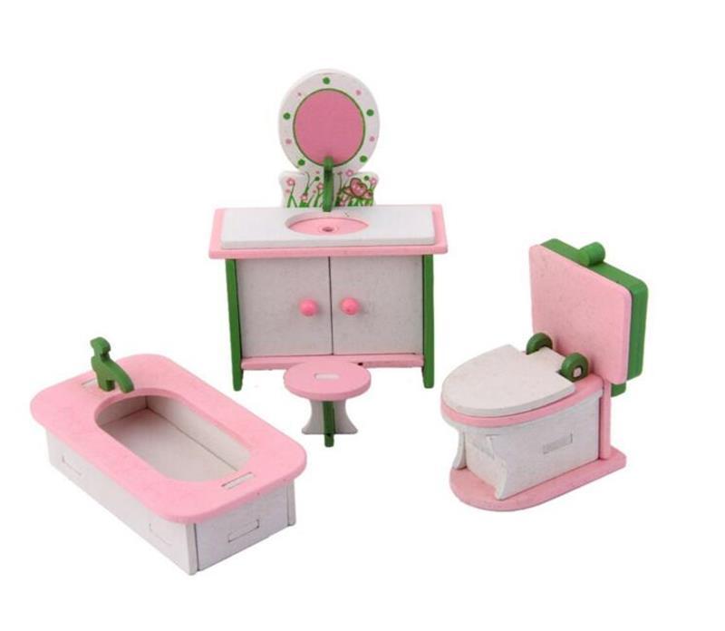 1/12 Cute Doll House Miniature Bathroom Wooden Furniture Set Kids Pretend Play Toys Dollhouse Bathtub Sink Toilet Play Set Toys