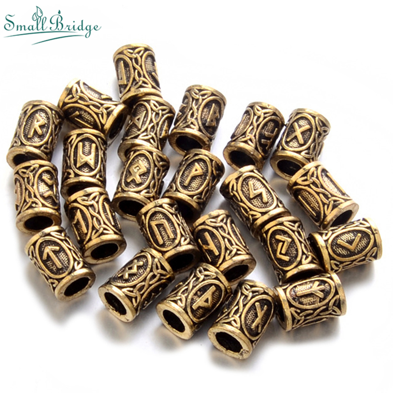 Lunavin Viking Rune DIY Beard Beads For Jewelry Making Hair Accessories Fashion Vintage Gold Color Alloy