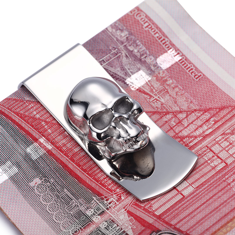 Modern - Brand New 2016 Skull Designs Män Sliver Money Clip Slim Pocket Purse Kontanthållare Card Organizer Män Women Wallet
