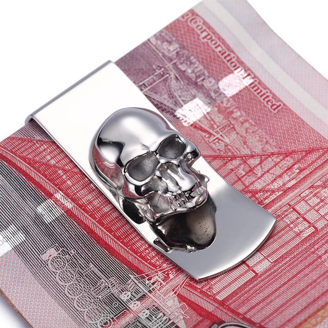 Moderna - a estrenar 2016 diseños del cráneo hombres astilla Money Clip delgado de bolsillo monedero Cash Card organizador hombres mujeres