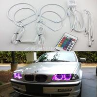4pcs Super Bright 7 Color RGB LED Angel Eyes Kit With A Remote Control For BMW