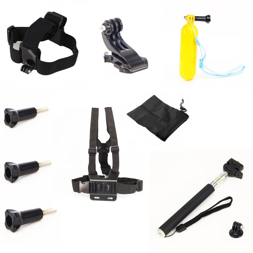 For Go pro hero4 full set mount camera tripod bag Chest head Strap Floaty pole grip