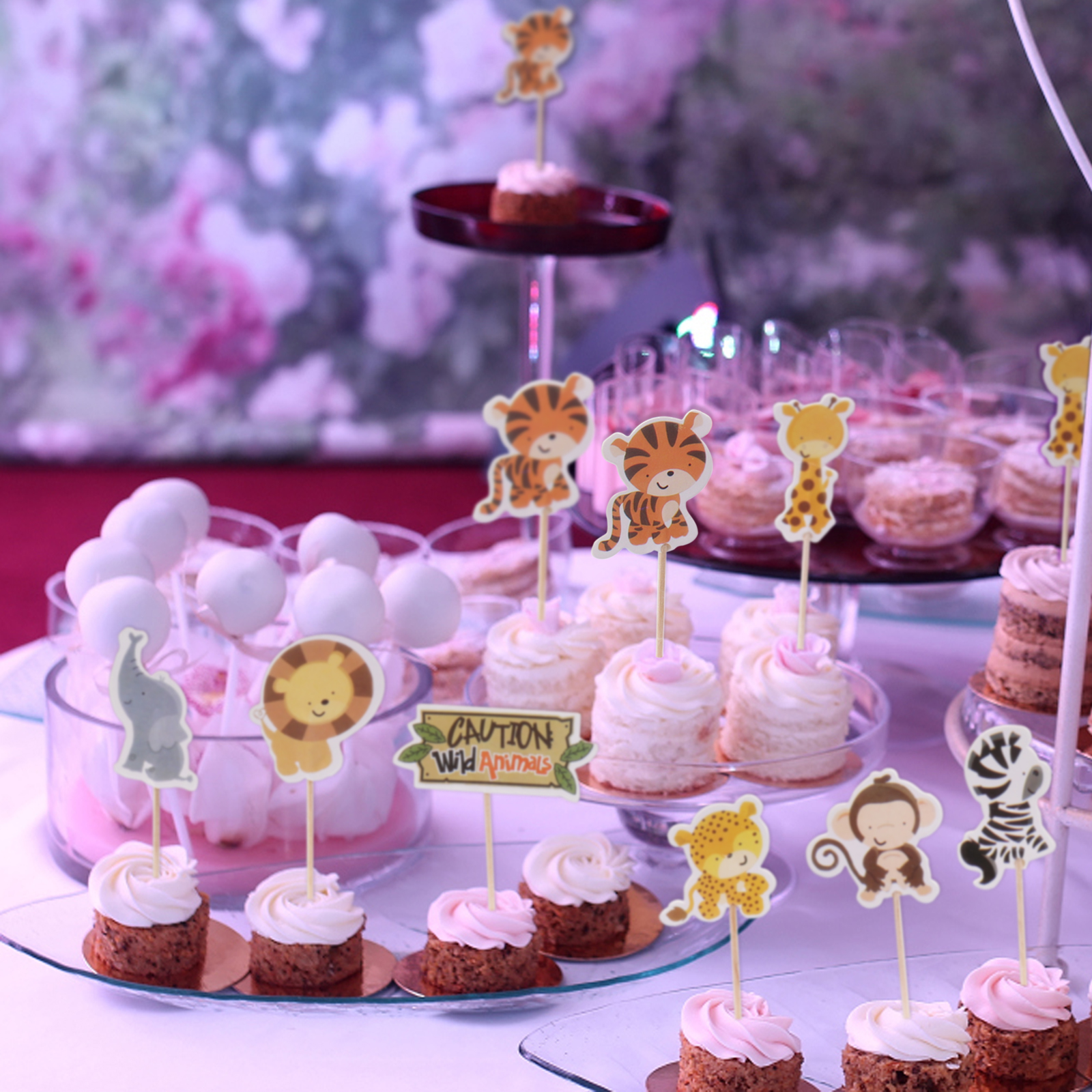 US $17.17 176% OFF174pcs Wild Jungle Animal Theme Cupcake Topper party  decoration zebra cupcake flag Kids Favor Birthday Cake Decoration  SuppliesCake