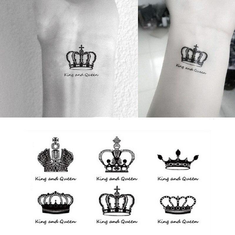 Nowy 2018 Tymczasowa Naklejka Tatuaż Wodoodporna Naklejka Fałszywy Tatuaż Art Taty Korona Angielski Słowo Wzór Naklejka Tatuaż