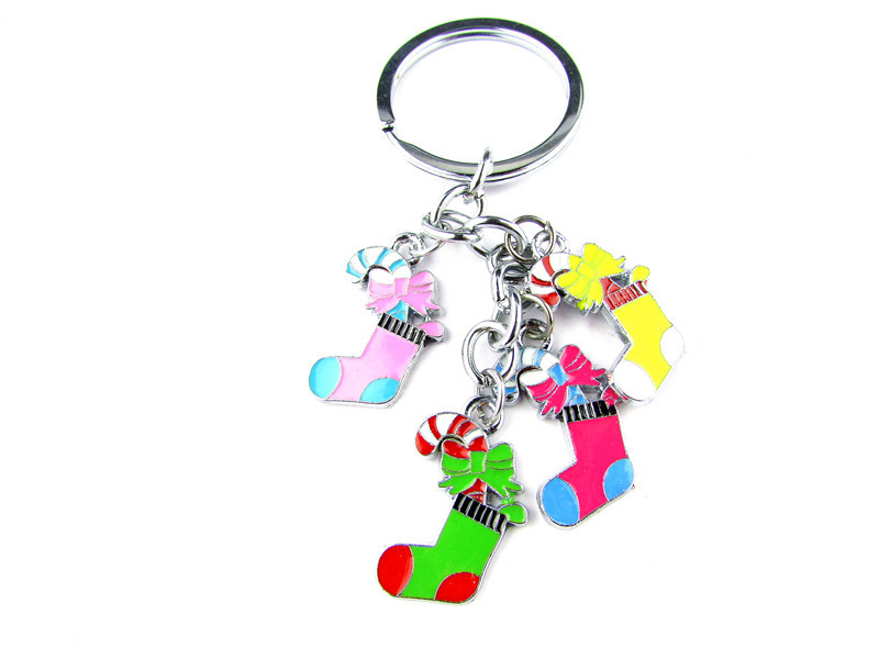 FK08 1Pcs Christmas Sock Key Chain Creative Model Keyring For Christmas Gift