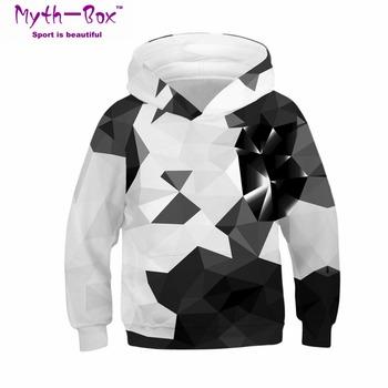 Bluzy sportowe dla dzieci czarny biały 3D Print bluzy dziecięce Junior dziecko z długim rękawem swetry 4-13y chłopiec dziewczynka swetry z kapturem tanie i dobre opinie Dzianiny Pełna Poliester Myth-box Pasuje prawda na wymiar weź swój normalny rozmiar Szybkie suche V-neck Knitted Kids Sweatshirts