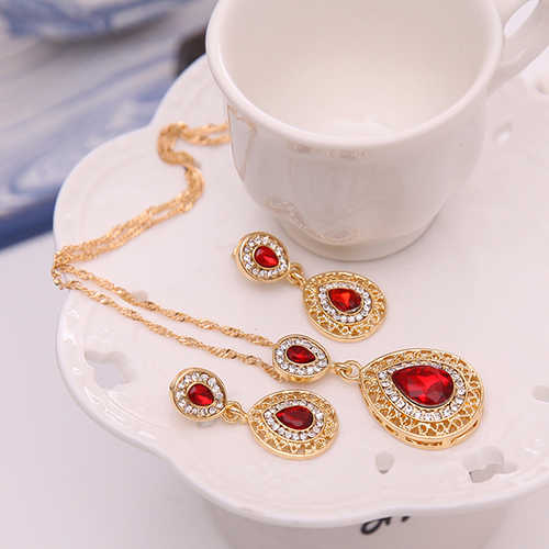 2017 Women's Luxury Rhinestone Oval Charm Necklace + Drop Dangle Earrings Jewelry Set