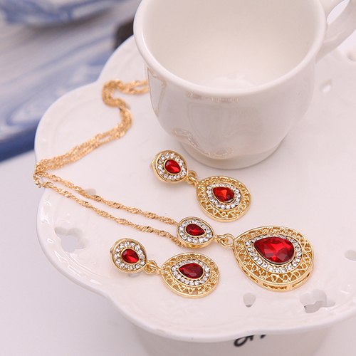 2020 Women's Luxury Rhinestone Oval Charm Necklace + Drop Dangle Earrings Jewelry Set title=