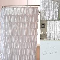 Hot Ruffle Shower Curtain Polyester Fabric Cloth Curtains for Bathroom Bathing Hogard