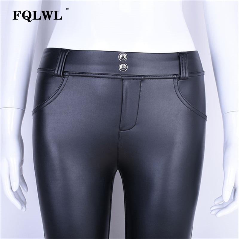FQLWL Plus Sizes PU Leather Pants Women Elastic Waist Hip Push Up Black Sexy Female Leggings Jegging Casual Skinny Pencil Pants 14