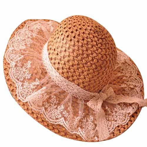 De color caqui Elegante Encaje Bowknot Decorado Sombrero de Sol Para Mujeres e09ef6dd781