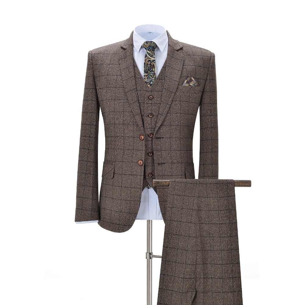 Men Suits 3 Pieces Slim Fit Business Suits Groom Brown Noble Plaid Wool Tuxedos for Formal Wedding Evening(Blazer+Pants+Vest)