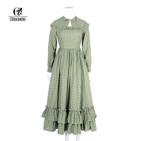 ROLECOS Cotton Check Plaid Dress Long Sleeve Women Lolita Dress Renaissance Victorian Dress Christmas Party Clothing