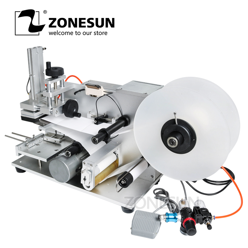 ZONESUN LT-60 Semi Automatic Pneumatic Flat Labeling Machine Drugs Bottle Medicine Bottle Labeling Machine Alcohol Disinfectant