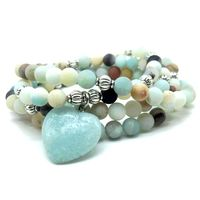 Fashion Women S Matte Frosted Amazonite Mala Beads Bracelet Or Necklace High Quality Matching Heart Charm