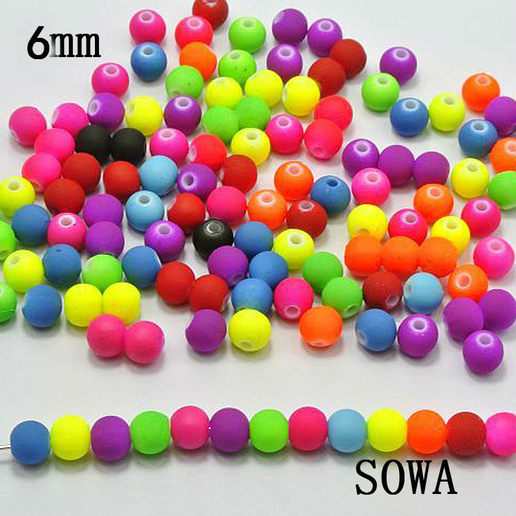 Beads Jhnby Top Quality 250pcs Mixed Candy Light Color Acrylic Cream Beads Neon Smooth 6mm Round Loose Beads Fit Jewelry Handmade Diy Clients First