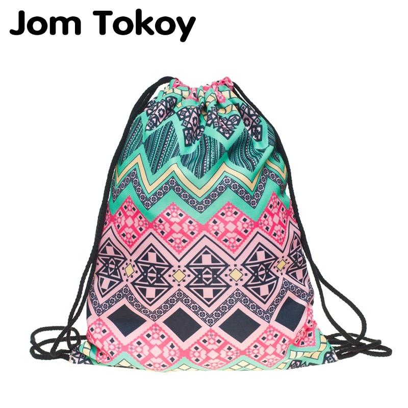 JomTokoy New Fashion Women Drawstring Backpack 3D Printing Travel Softback Women Mochila Drawstring Bags SKD29059