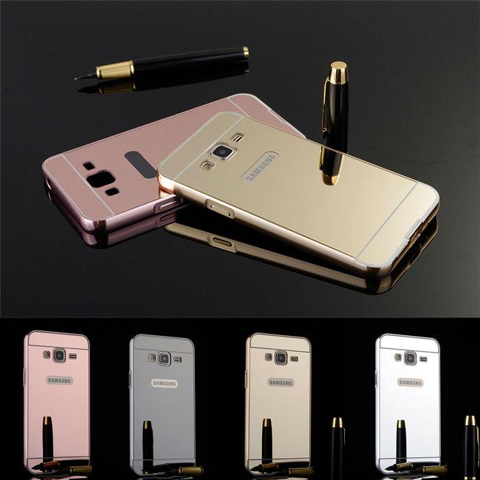 Luxury Aluminum Metal Frame+Mirror Acrylic Back Cover Anti-knock Protective Cases Samsung Galaxy J1 mini J2 J3 J5 J7(2016)  -  ShenZhen Poplar Technology CO.,LTD store
