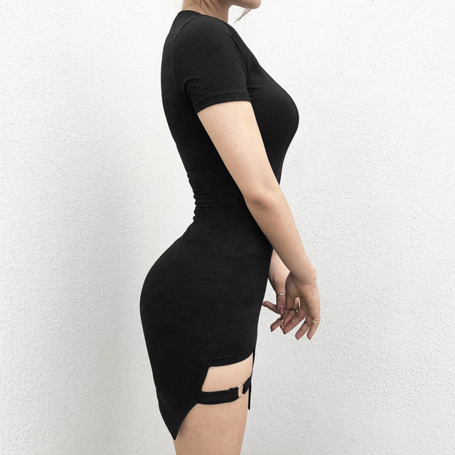 Black Harajuku Dresses Women Summer Short Sleeve Sexy Hollow Out Asymmetrical Metal Ring Slim Mini Dress Gothic Girls 2