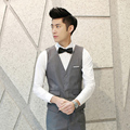 men's fashion brand of high-grade fine pure color suits vest groom wedding dress suit vest / cotton Male business suit waistcoat