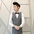 men's fashion brand of high-grade fine pure color suits vest groom wedding dress suit vest / cotton Male business suit waistcoat