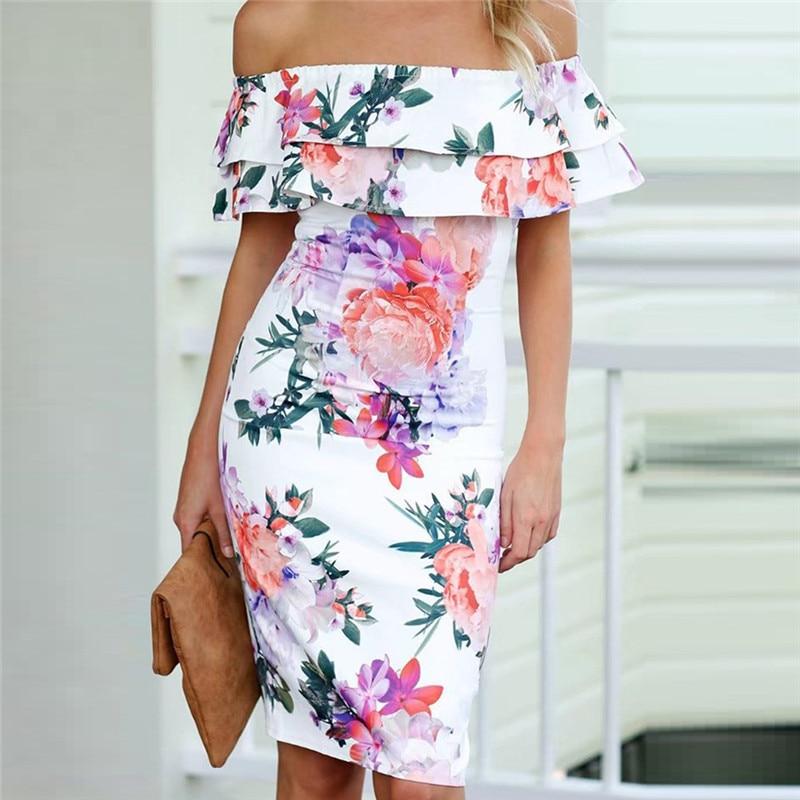 women off shoulder slim summer dresses Boho style knee-length dress floral print vintage chiffon white maxi dress vestidos