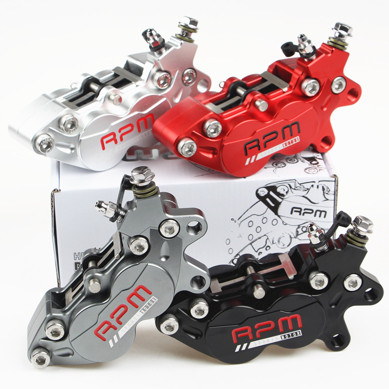 Motorcycle 4 Piston HF6 40mm Hole Pitch Brake Calipers For Yamaha BWS RSZ Honda MSX125 CNC Rear Brake 9mm Hole Motorcycle Parts adelin adl 21 motorcycle modification electric motorcycle double piston brake calipers for wisp rsz yamaha small crab calipers