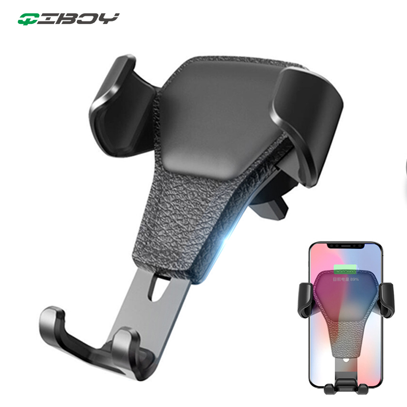 Car Phone Holder Universal Leather Gravity Support Air Vent Stand Mount No Magnetic Mobile Phone Bracket For Iphone Cell Support