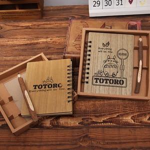 Image 3 - Creative Cute Cartoon Totoro Planner Hardcover Notebook Wooden Korean Stationery Diary Notepad School Supplies