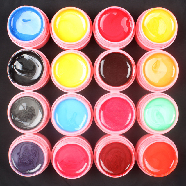 Pro 16 PCS Mix Colors Pearl UV Builder Gel Acrylic Nail Art Sets for Nail Tips Pink