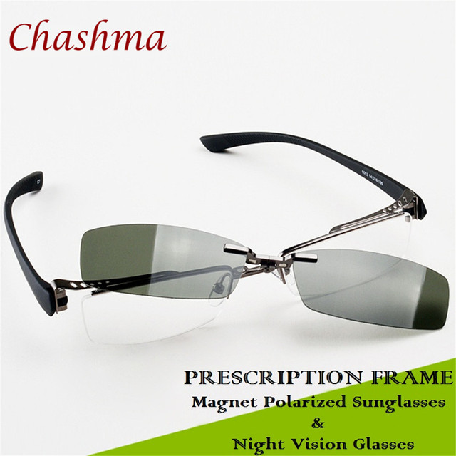 27b2d4076d Chashma Half Rim Fishing Sunglasses Polarized Optical Frames Designer Frame  Gray and Yellow Day and Night Driving Clips Mens