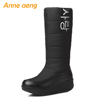 2018 New Winter Mid Calf Boots Middle Wedge Heel Round Toe Waterproof Sexy Ladies Women Shoes Black Down Snow Boots Big Size
