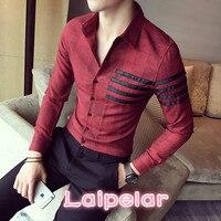High Quality Shirt Men British Slim Fit Striped Long Sleeve Men Shirt 2018 Autumn New Brand Clothing Men's Shirts Black/Gray/Red